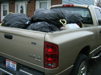 Aluminum Cans Loaded Into The Truck