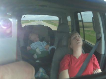Momma and Ace sleeping in the car on the way to Iowa